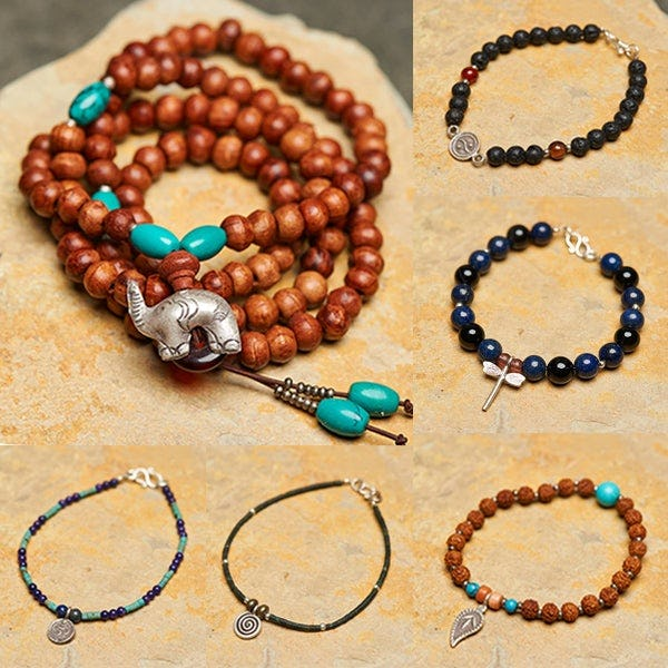 Mala and Stone Beaded Bracelets with Silver Charm