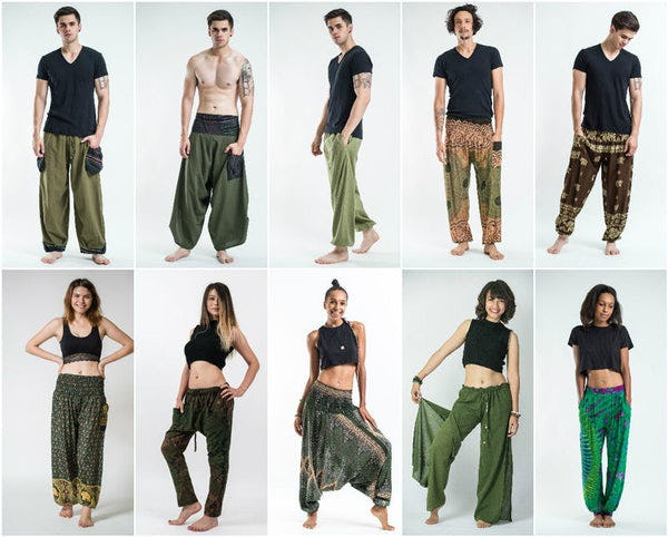 Green Harem Pants, Kimonos, and Accessories
