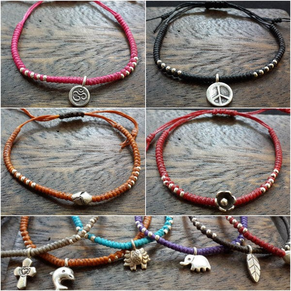 Thai Hill Tribe Waxed Cotton and Beaded Bracelets with Silver Charm