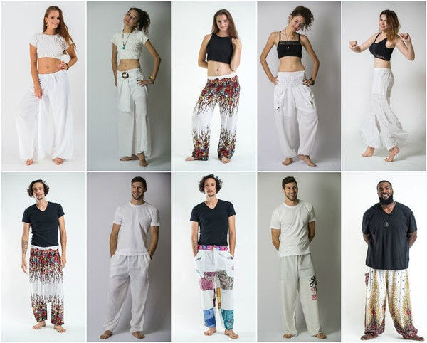 White Harem Pants, Kimonos, and Accessories