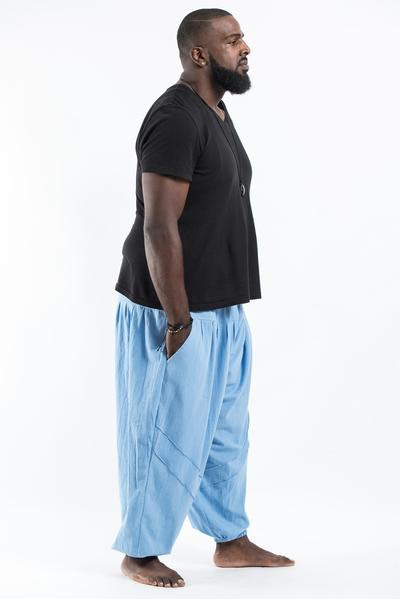 Plus Size Genie Men's Cotton Harem Pants in Light Blue