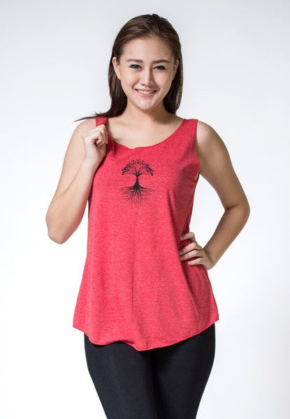 Loose Soft Vintage Style Women's Tank Tops Tree of Life Red