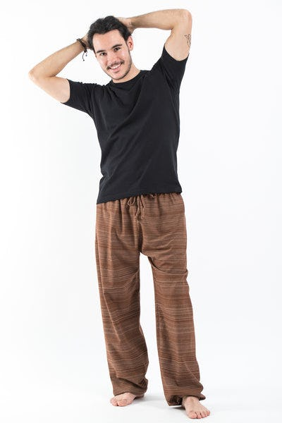 Drawstring Pinstripe Men's  Pants in Light Brown