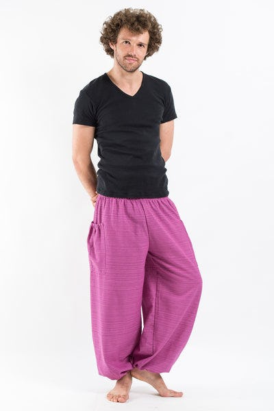 Men's Smocked Waist Pinstripes Cotton Pants in Pink