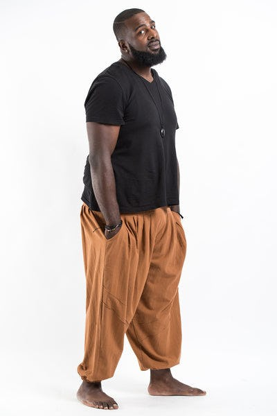 Plus Size Genie Men's Cotton Harem Pants in Brown