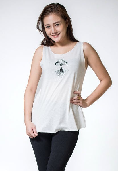 Loose Soft Vintage Style Women's Tank Tops Tree of Life White