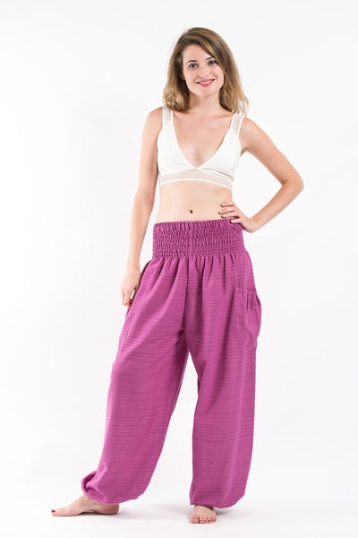 Women's Smocked Waist Pinstripes Cotton Pants in Pink