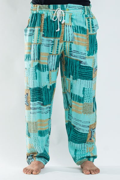 PLUS SIZE Thai Organic Cotton Patchwork Drawstring Pants Turquoise