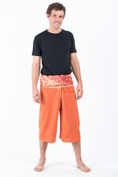 Men's Cropped Fisherman Pants with Pattern Waist Band in Orange