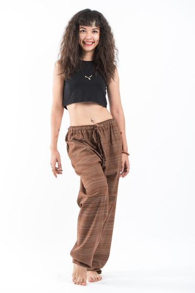 Drawstring Pinstripe Women's  Pants in Light Brown