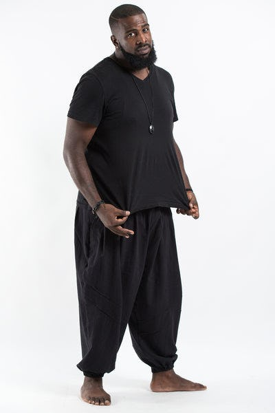 Plus Size Genie Men's Cotton Harem Pants in Black