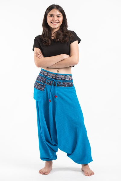 Pinstripe Cotton Low Cut Women's Harem Pants with Elephant Trim in Blue