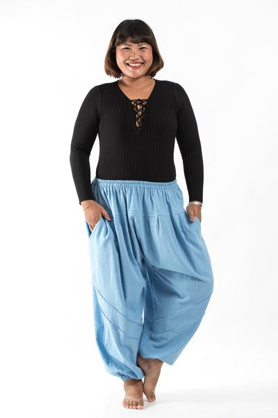 Plus Size Genie Women's Cotton Harem Pants in Light Blue