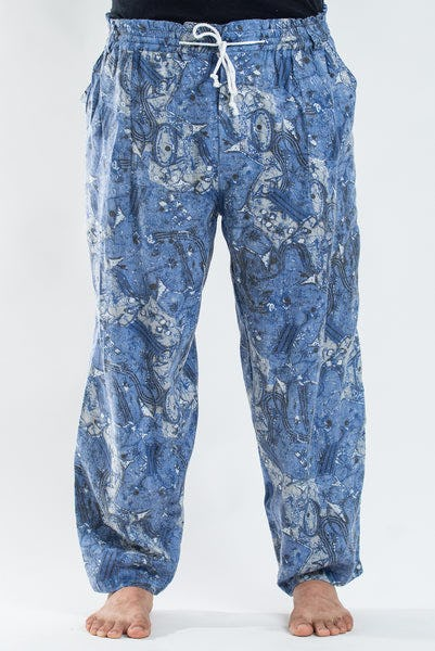 PLUS SIZE Thai Organic Cotton Patchwork Drawstring Pants Blue