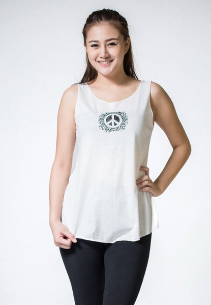 Loose Soft Vintage Style Women's Tank Tops Peace Sign White