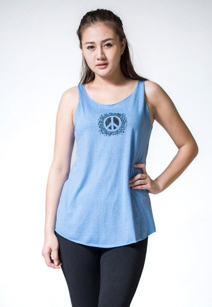 Loose Soft Vintage Style Women's Tank Tops Peace Sign Blue