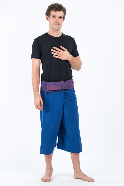 Men's Cropped Fisherman Pants with Pattern Waist Band in Blue