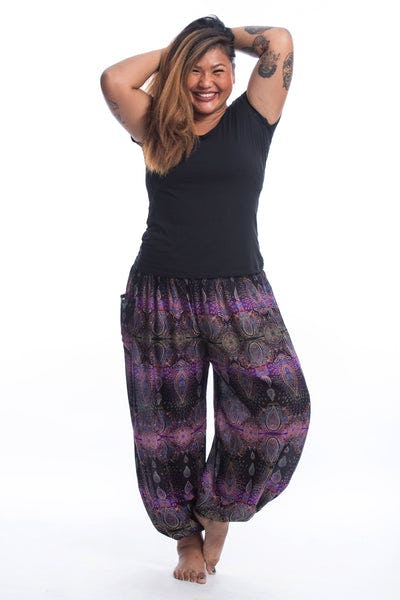 Plus Size Paisley Women's Harem Pants in Purple