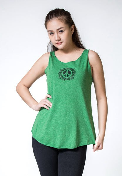 Loose Soft Vintage Style Women's Tank Tops Peace Sign Green