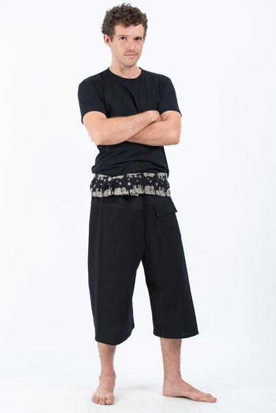 Men's Cropped Fisherman Pants with Pattern Waist Band in Black