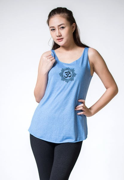 Loose Soft Vintage Style Women's Tank Tops Om Blue
