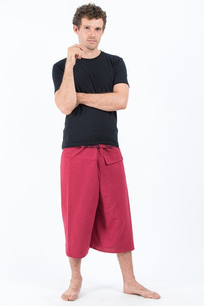 Men's Cropped Fisherman Pants with Pattern Waist Band in Red