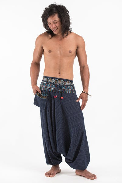Pinstripe Cotton Low Cut Men's Harem Pants with Elephant Trim in Navy