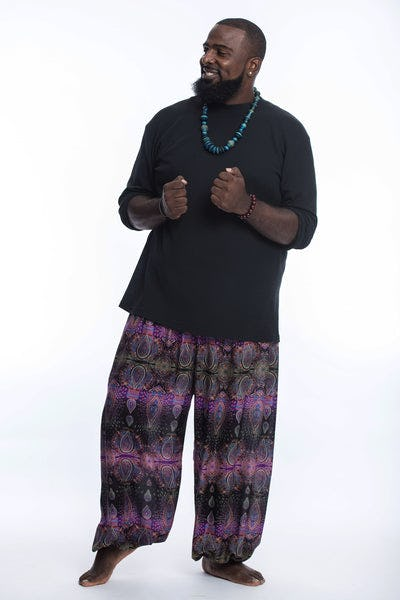 Plus Size Paisley Men's Harem Pants in Purple