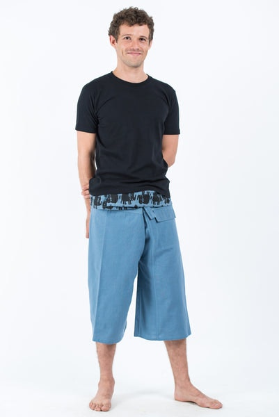 Men's Cropped Fisherman Pants with Pattern Waist Band in Baby Blue