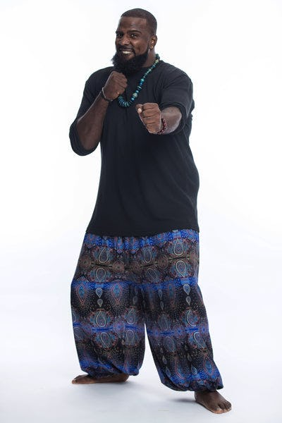 Plus Size Paisley Men's Harem Pants in Blue