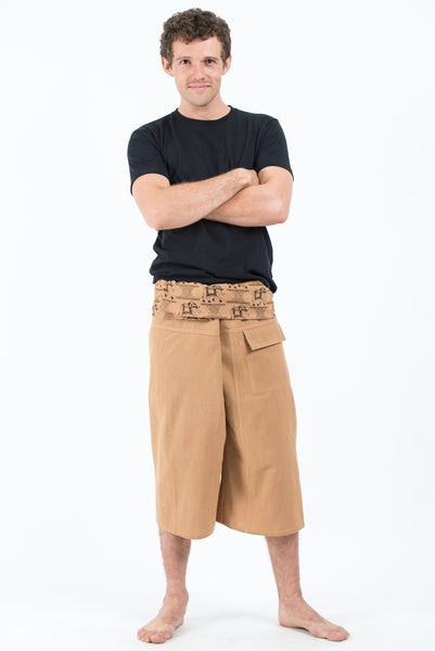 Men's Cropped Fisherman Pants with Pattern Waist Band in Beige