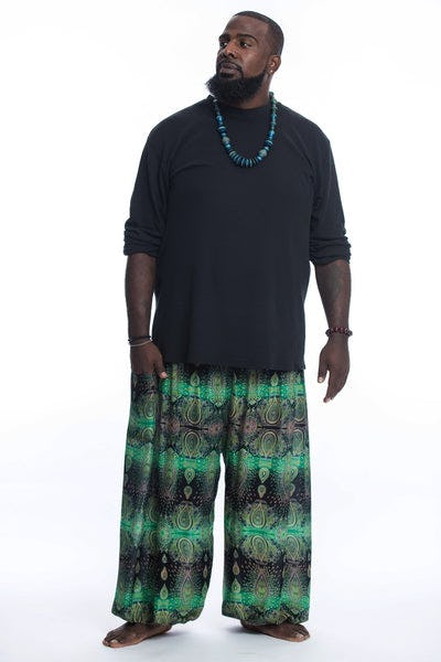 Plus Size Paisley Men's Harem Pants in Green
