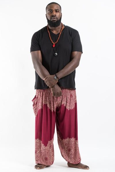 Plus Size Floral Mandalas Men's Harem Pants in Red