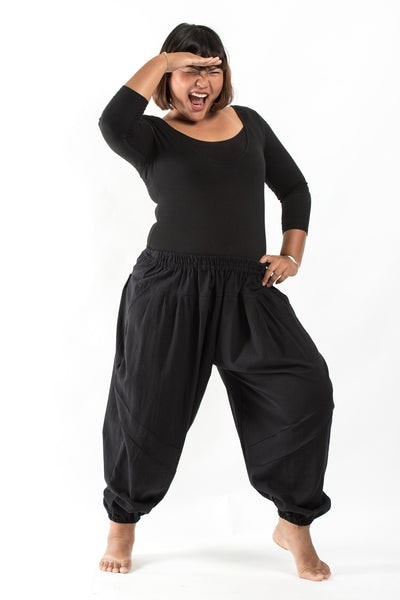 Plus Size Genie Women's Cotton Harem Pants in Black