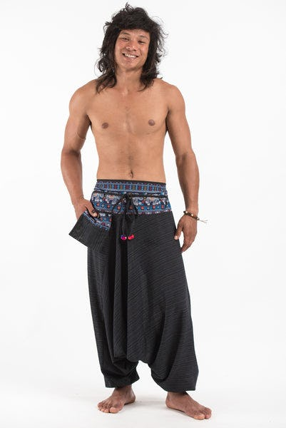 Pinstripe Cotton Low Cut Men's Harem Pants with Elephant Trim in Black