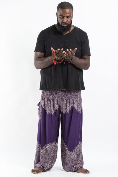 Plus Size Floral Mandalas Men's Harem Pants in Purple