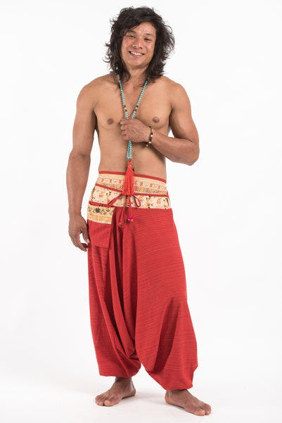 Pinstripe Cotton Low Cut Men's Harem Pants with Elephant Trim in Red