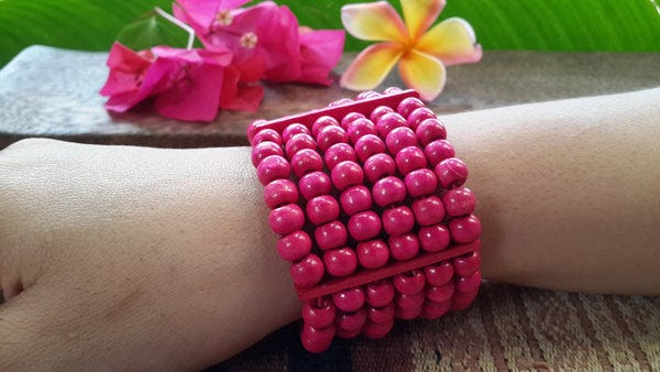 Pink Elastic Bracelet Wood Beaded Mala Style Fair Trade