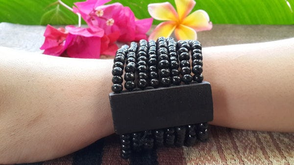 Black Elastic Bracelet Wood Beaded Mala Style Fair Trade