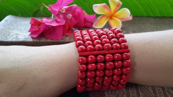 Red Elastic Bracelet Wood Beaded Mala Style Fair Trade