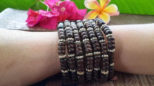 Brown Silver Elastic Bracelet Wood Beaded Mala Style Fair Trade
