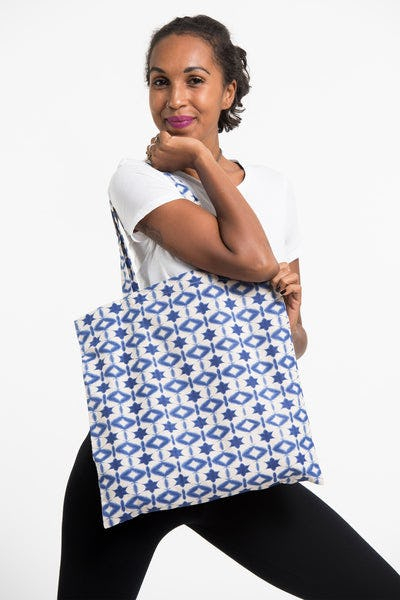 Star Indigo Print Cotton Hobo Bag in White