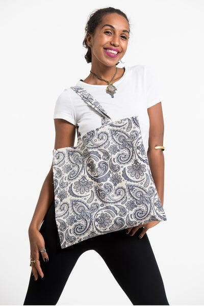 Paisley Indigo Print Cotton Tote Bag in White