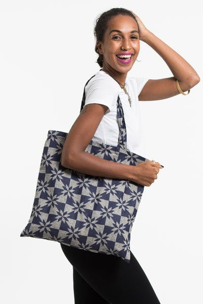 Diamond Indigo Print Cotton Tote Bag in Gray