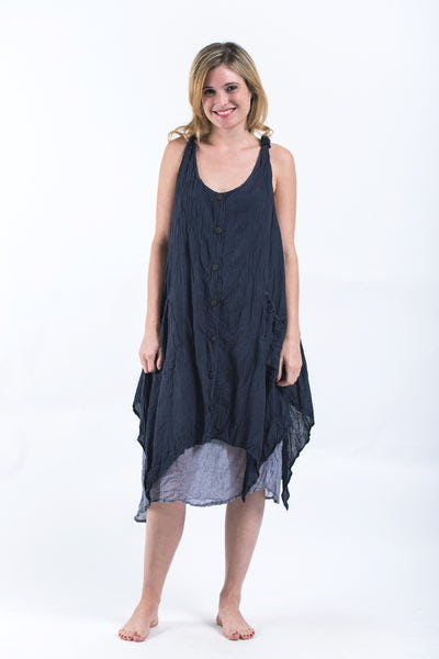 Women's Crinkled Hill Tribe Cotton Tank Dress in Dark Navy