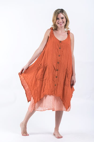 Women's Crinkled Hill Tribe Cotton Tank Dress in Orange