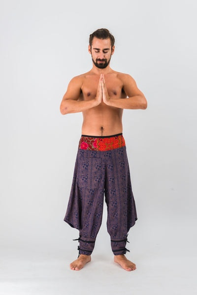 Thai Hill Tribe Fabric Men Harem Pants with Ankle Straps in Navy Brass