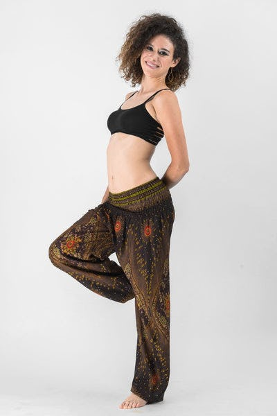 Peacock Eye Women's Harem Pants in Brown