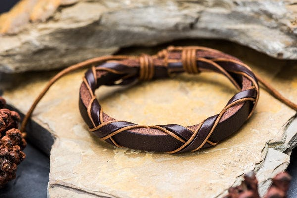 Fair Trade Hand Made Woven Leather Bracelet Wrap Brown