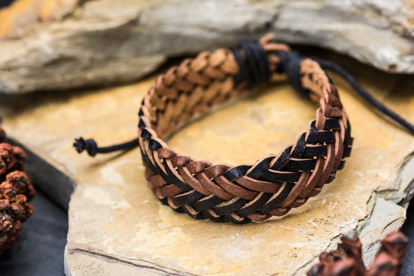 Fair Trade Hand Made Woven Leather Bracelet Braided in Brown